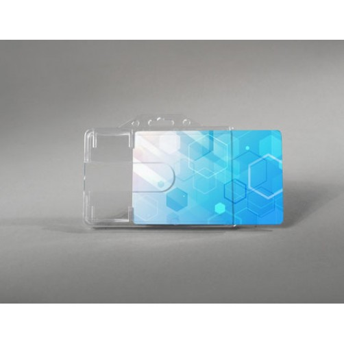 Premium rigid card holder with finger slot design (horizontal)